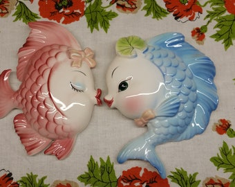 RARE Lefton Kissing Fishes Wall Plaque, Super Rare, Large