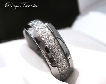 Tungsten Wedding Band His And Her Promise Ring Imitated Meteorite Inlay Ring Tungsten