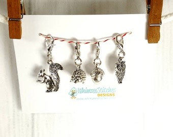 Woodland Critters Progress Keeper Set of 4, Knitting Stitch Markers, Progress Markers with 12mm lobster clasp PK0009