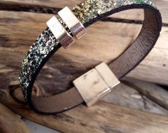 Bracelet green and silver leather spangled glitter Boho jewelry By Dodie