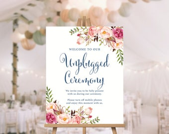 Unplugged Ceremony Sign, Welcome To Our Wedding, Unplugged Wedding Sign, Unplugged Wedding, Unplugged Sign, Wedding Sign, Wedding Poster