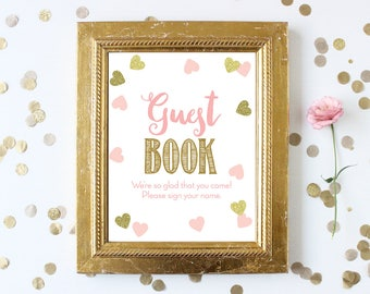 Baby Shower Guest Book Sign . Pink and Gold . Printable 8x10 Sign . Pink and Gold . Baby Shower Girl . Pink and Gold Girl . Instant Download