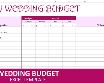 Budget wedding etsy easy wedding budget magenta wedding budget planner excel wedding budget wedding expenses tracker junglespirit Images
