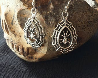 Spider Web Earrings, Spider Earrings, Halloween, Pagan Witch Wicca, Earrings, Samhain Earrings, Witchy Things, Witch Earrings,  Protection