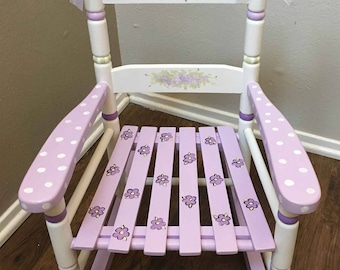 Cottage rocking chair, hand painted kids rocker, child's rocking chair, purple cottage rocker