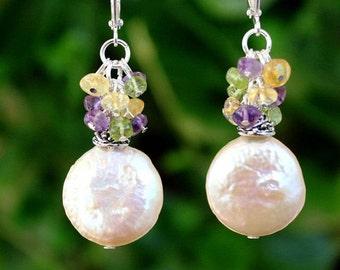 Keshi Coin Pearl.Multi Gemstone Cluster Earrings.Gold.Silver.Dangle Earrings.Drop.Bridal.Citrine.Peridot.Amethyst.Multi Colors.Hand made.