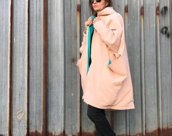 Winter Coat, Plus Size Coat, Pink Coat, Wool Coat, Loose Fit Coat, Avant Garde Clothing, Minimalist Fashion, Oversized Coat,Extravagant Coat