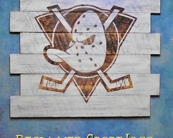 Anaheim Ducks, Hockey ~ WhiteWash ~ , Burnt wall hanging, 30X23, Shou Sugi Ban, Sports sign, Man cave, Rustic, Pallets, Wood Sports sign