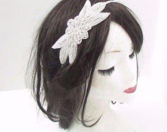 Silver Beaded Bridal Headband Wedding Headpiece Diamante Hair Band Flower 3104