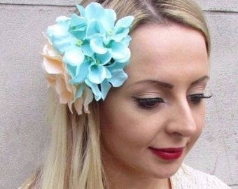 Peach & Mint Green Hydrangea Rose Flower Hair Clip Fascinator Bridesmaid 3587