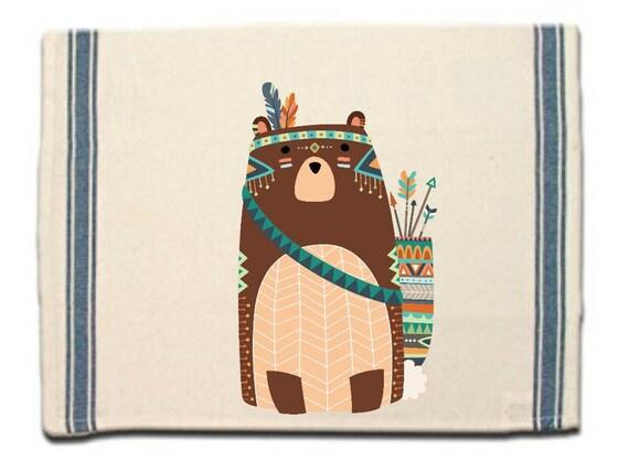 Tribal Bear Kitchen Towel, Dish Towel, Tea Towel,Flour Sack Material,Woodland Tribal Animals Dish Towels,Flour Sack Kitchen Towel,Dish Cloth