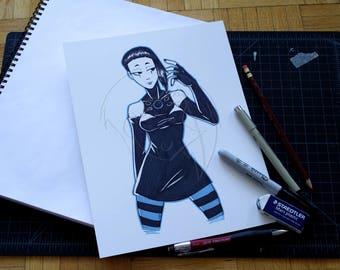 Cybergoth Original Ink Illustration