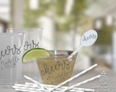 Cheers Wedding Cups   Personalized Cups   Monogram Cups   Clear Party Cups   Customizable Plastic Cups   Disposable Party Cups