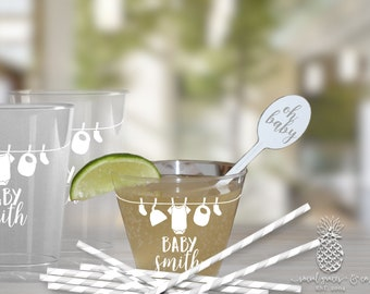 Clothesline Baby Shower   Customizable Plastic Disposable Party Cups   social graces and Co