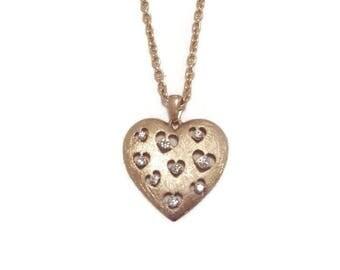 Vintage Heart Pendant - Vintage Heart Necklace - Gold Heart Pendant - Gold Heart Necklace - Vintage Gold Pendant - Gold Pendant Necklace