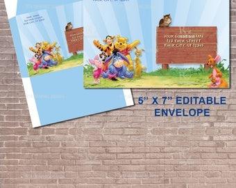 Winnie the Pooh ENVELOPE / Winnie the pooh Invitation / Address Label / Winnie the Pooh Baby Shower / Girl / Boy