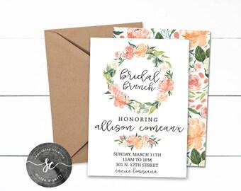 Bridal Brunch Invitations, Floral Invitations, Bridal Shower, Bridal Brunch, Printable, Downloadable