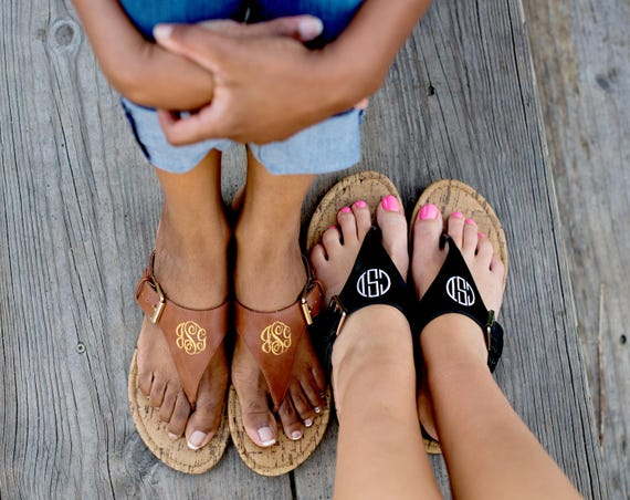 Monogrammed Sandals Personalized Flip Flops Monogrammed Apparel Womens Shoes Summer Shoes Personalized Gifts Footwear Highway12Designs