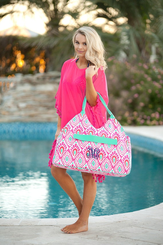 Monogrammed Bag Pink and Green Beach Bag Summer Accessories Hot Pink Tote Bag Bridesmaid Gifts Weddings Overnight Bag Monogrammed Gifts