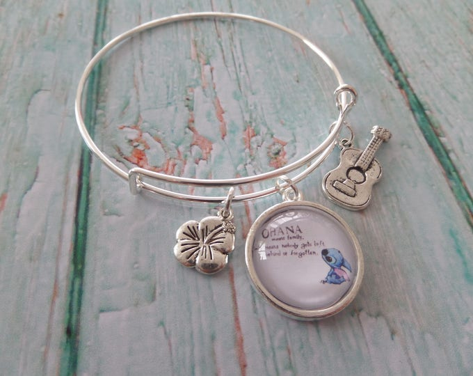 Ohana means Family Lilo & Stitch inspired 20mm glass dome 65mm expandable bangle fan gift jewellery Uk