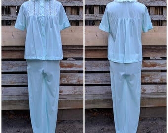 Vintage 1960's LovLee Aqua Blue  100% Nylon and Lace Ladies Pajama Set Made in Montreal