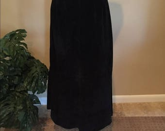 Sonoma 100% Suede Straight Skirt Long Black Lined Leather Side Slits Waistband Zipper Women's Size 12