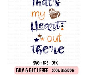 Football Mom SVG - Football Heart SVG  - That my heart out there svg - football Cut File - dxf - Eps-  SVG Files - Silhouette Cameo - Cricut