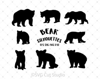 Bear SVG, Bear Silhouette SVG, Baby Bear cut files for Cricut and Silhouette, svg files