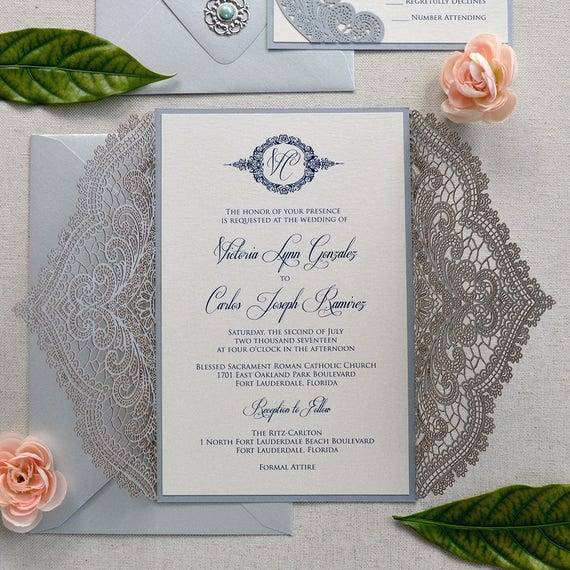 SILVER CHANTILLY LACE Laser Cut Wrap Invitation - Silver Laser Cut Wedding Invitation with Ivory Shimmer Insert and Navy Ribbon Bow