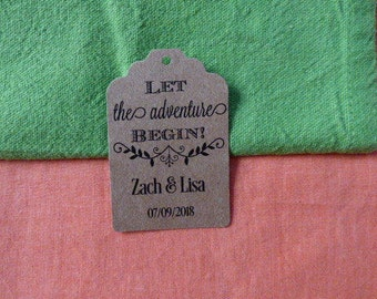 KRAFT, Let the adventure begin, custom tags, wedding tags, wedding label, wedding personalized tags Set of 25 to 300 pieces