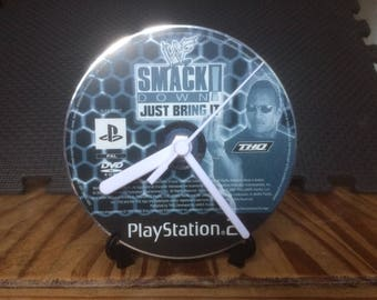 Smackdown Just Bring It! - CD Game Disc Clock - WWF WWE The Rock PS2 Gaming Clock Gift
