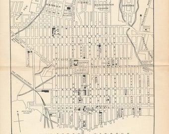 1914 Kingston Jamaica Antique Map