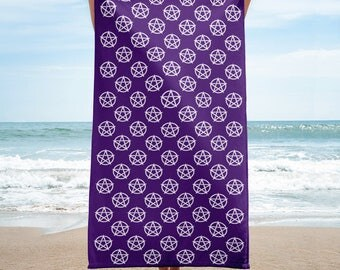 Purple and Pentacle Cheeky Witch® Wiccan Beach Towel