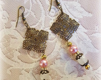 Rose Quartz and Pink Pearl Beaded Earrings, Vintage Filigrees, Dangle Earrings, Assemblage Earrings, Upcycled and Repurposed Jewelry