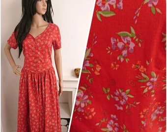 Vintage Laura Ashley Red Cotton Ditsy Floral Dress Boho / UK 12 14 / EU 40 42 / US 8 10