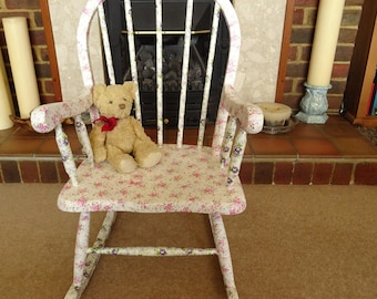Child's Pink Rocking Chair . Decoupaged . Wood