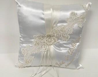 Personalized Ring Bearer Pillow, Satin Ring Bearer Pillow