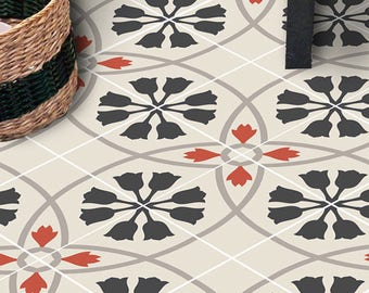 SALE!! Vinyl Floor Tile Sticker - Floor decals - Carreaux Ciment Encaustic Tulipano Tile Sticker Pack in Black Red