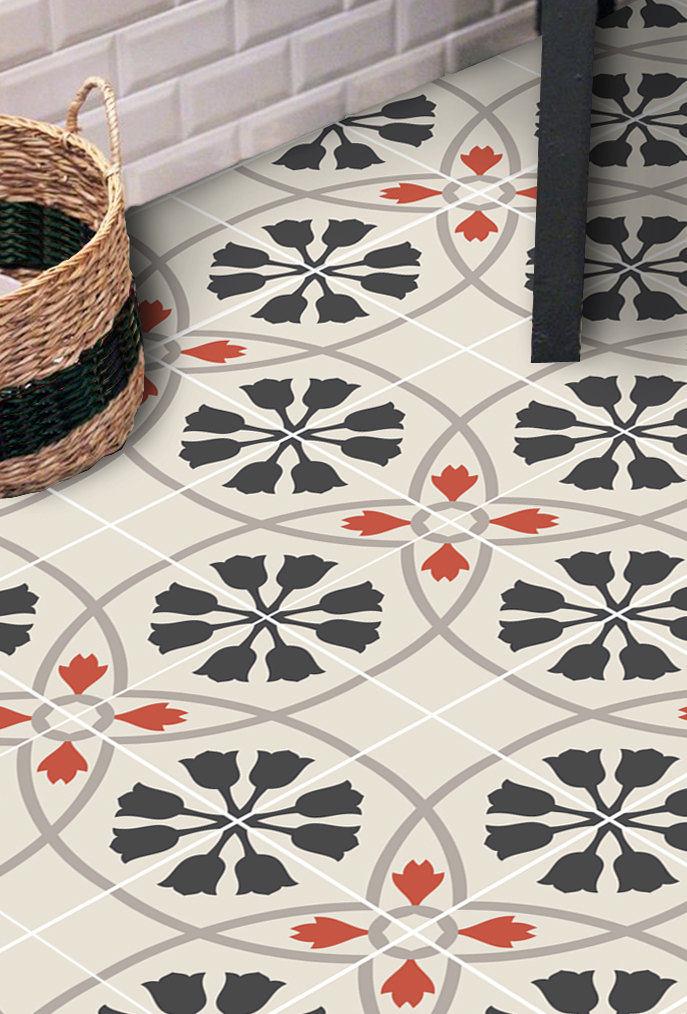 clearance vinyl floor tile sticker floor decals carreaux ciment encaustic tulipano tile. Black Bedroom Furniture Sets. Home Design Ideas