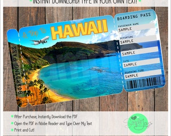 Printable Ticket to Hawaii Boarding Pass, Customizable Template, Digital File - You Fill and Print