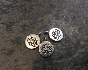Round Silver Lotus charms or pendants Double Sided Yoga Charms Package of 3 charms Great for pendants or earring findings