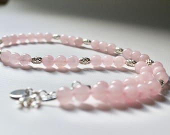 Rose Quartz & Silver Filigree Lattice Necklace