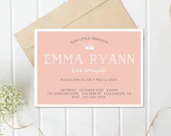Meet and Greet Invitation, Sip and See Invitation, Baby Girl Invites, Girl Baby Shower, Princess, Digital Invitation, Invitations [662]
