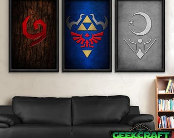 Legend of Zelda, Zelda Art, Zelda Prints, Zelda Game, Zelda, Link, Zelda Poster Shields of A Hero Print Set