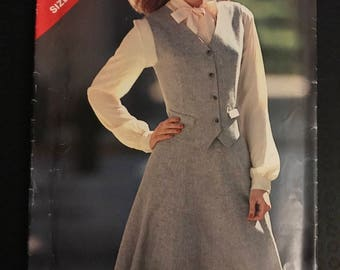 See & Sew 3405 - Weskit Button Front Vest with Flaps and Flared Knee Length Skirt - Size 14 16 18