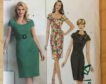 Butterick B5277 - Fast and Easy Close Fitting Dress with Scoop Neck and Pointed Collar Self Belt Option - Size 6 8 10 12