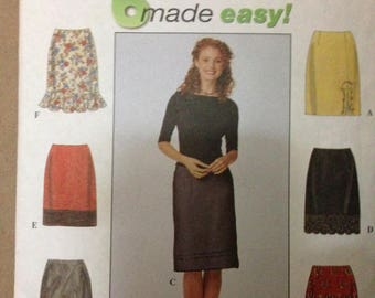 Simplicity 8664 Dart Fitted Straight Skirt with Back Zipper in 6 Styles - Size 10 12 14