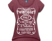 """50th Birthday Gift for Woman - **VELVETY PRINT** *Heather Colors* Memorable """"Made in 1967"""" design Shirt - Birthday Gift for Her"""