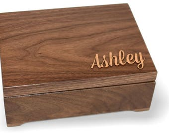 Girl's Keepsake Box - Wood Keepsake Box - Personalized Keepsake Box - Walnut Keepsake Box - Applique Keepsake Box