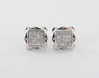 14k White Gold Princess Cut Diamond Stud Earrings Screw Back 1.00 carat